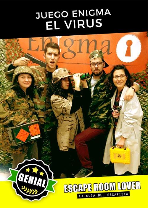 Juego Enigma - El virus - Escape Room - Opiniones
