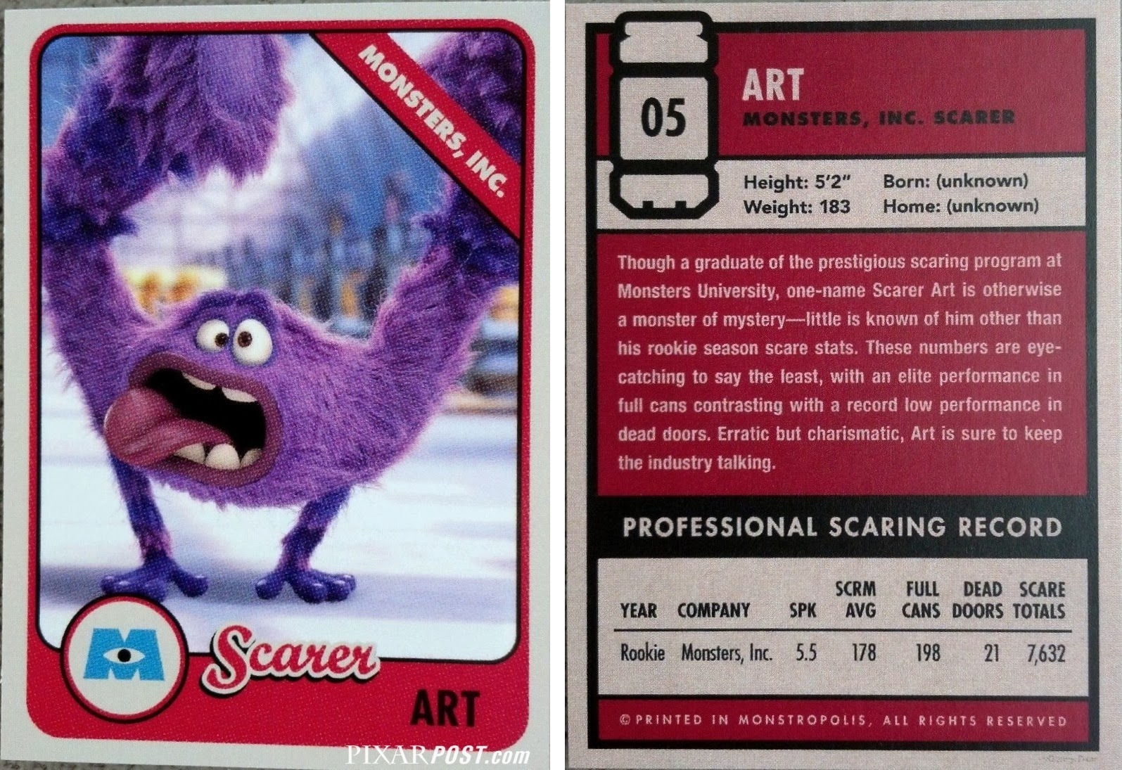 Monsters University Scare Cards - The Complete Guide | Pixar Post