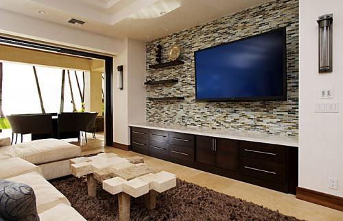 Desain keramik dinding ruang tamu rancangan desain rumah for Living room accent wall tile