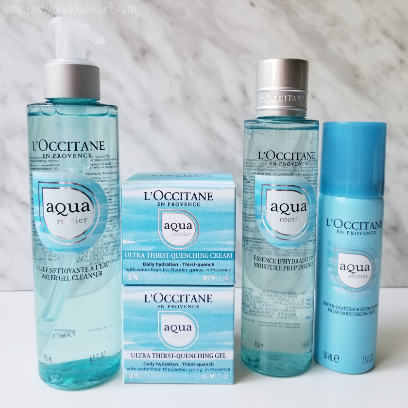 bbloggers, bbloggerca, canadian beauty blogger, l'occitane, loccitane, L'OCCITANE, Aqua Réotier. fresh moisturizing mist, prep essence, water gel cleanser, gel, cream, dry skin, sensitive skin, summer, skincare, routine, review, l'occitane en provence