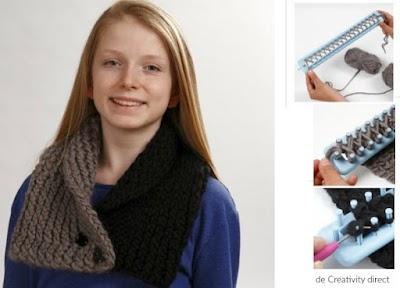 Cuello abotonado 2 colores con telar tricotin rectangular
