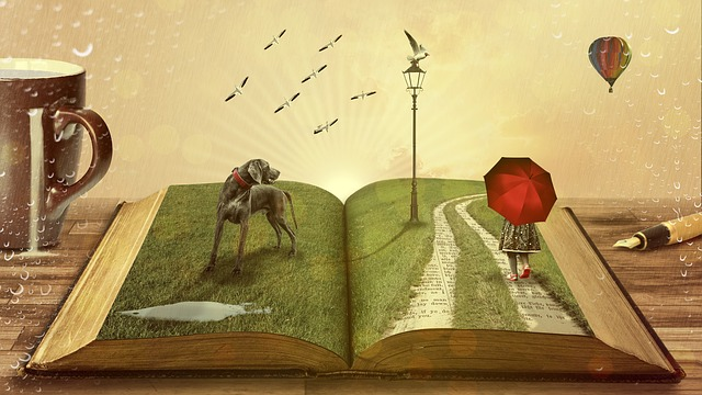 a girl standing on a book