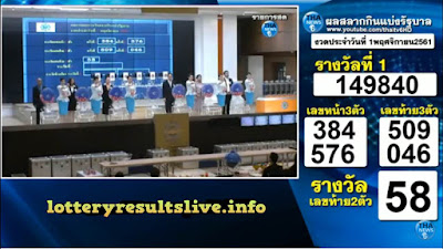 Thailand Lottery Results Today 01 November 2018 Live Online