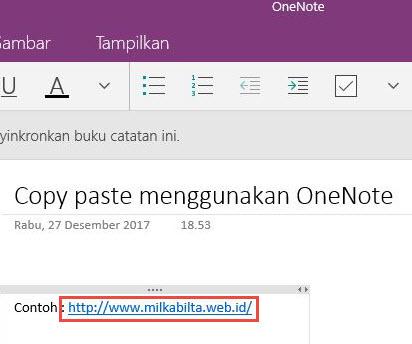 Menghilangkan link situs,saat menyalin Link OneNote
