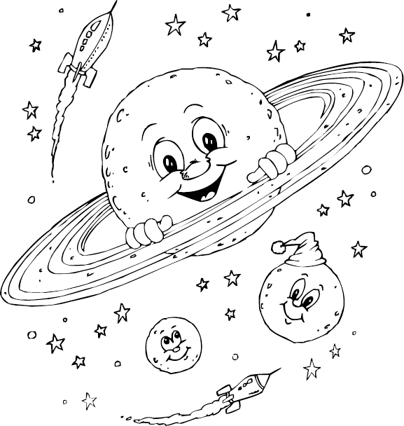 Coloring Pages for Kids: Planet Saturn Coloring Pages