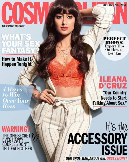 Ileana D'Cruz On The Cover of Cosmopolitan India Magazine September 2017