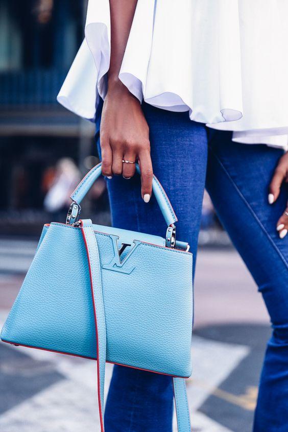 Viva Luxury Louis Vuitton Blue Capucines PM Bag