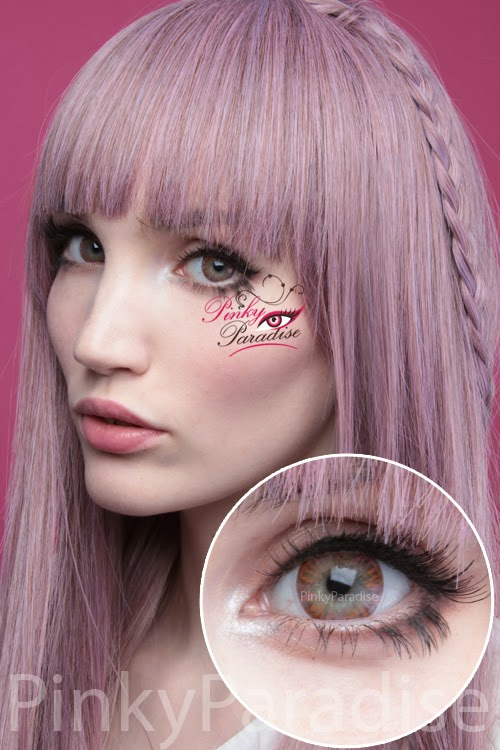 Vassen Rainbow Eyes Pinkish Brown On Light Eye Circle Lenses (Colored Contacts)