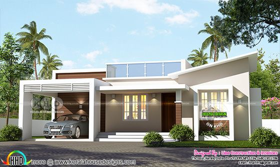 Single floor 1150 sq-ft slanting roof mix home