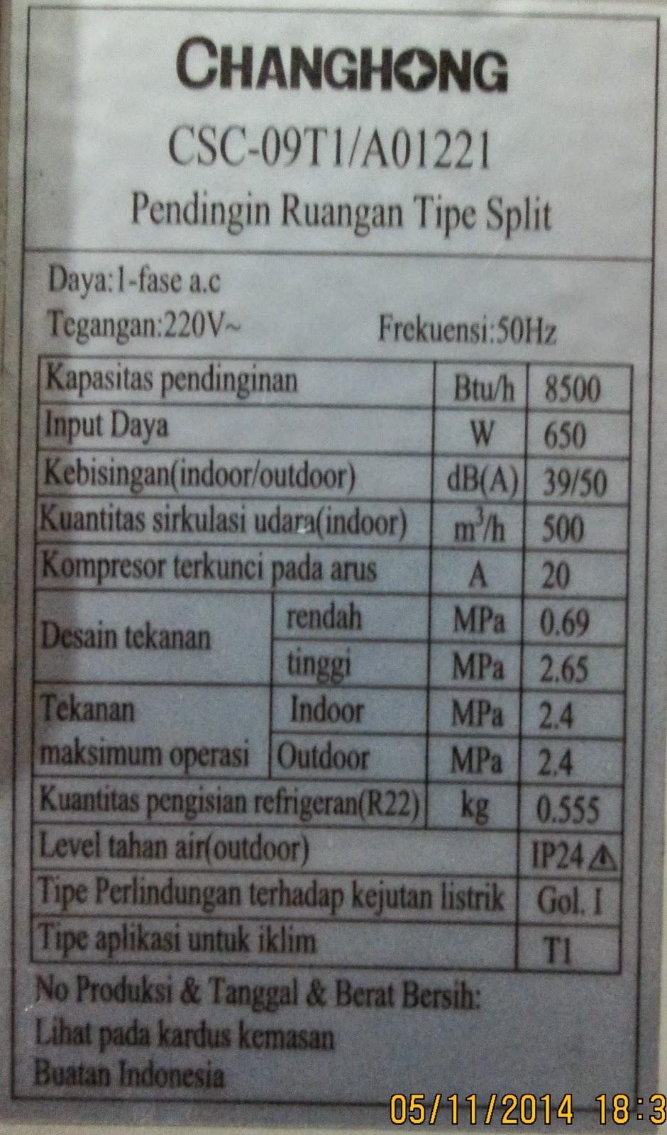 Service AC Kota Serang Baru Plat Spesifikasi Unit AC