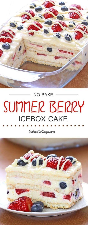 No Bake Summer Berry Icebox Cake