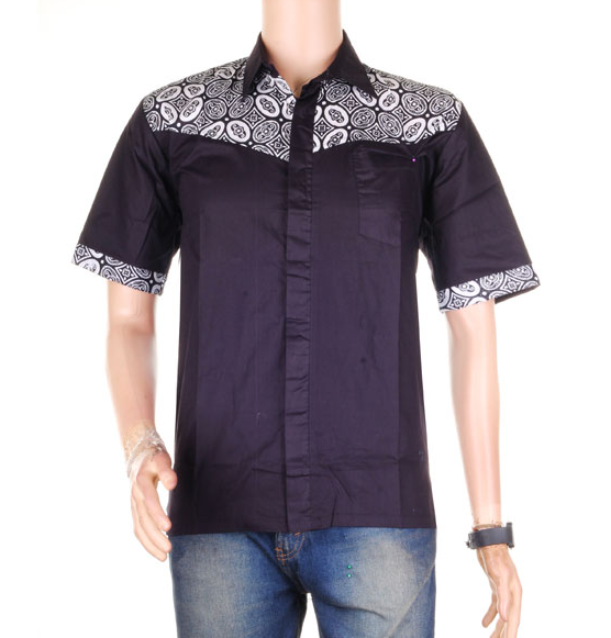 Baju Batik Pria Lengan Pendek Kombinasi