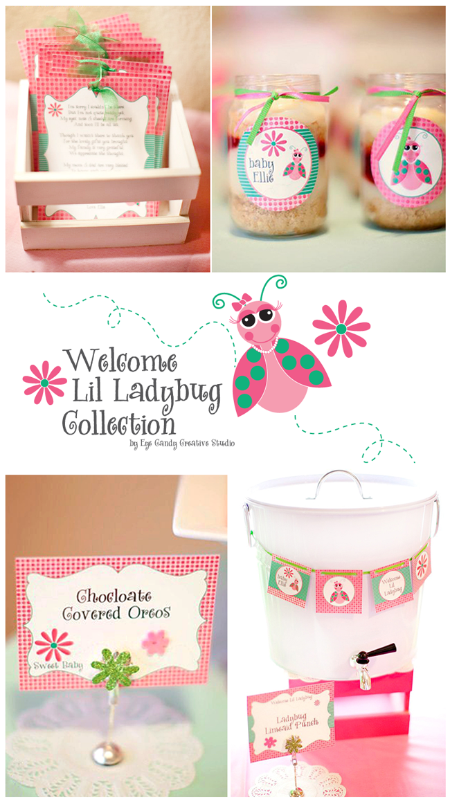 welcome lil ladybug, baby shower theme, girls baby shower idea, pink & green