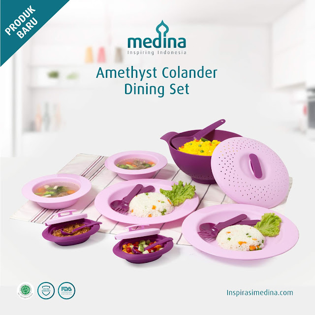 review medina amethyst colander dining set