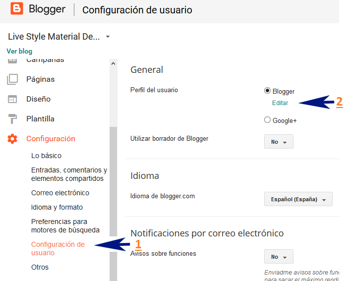 Editar perfil de usuario de Blogger