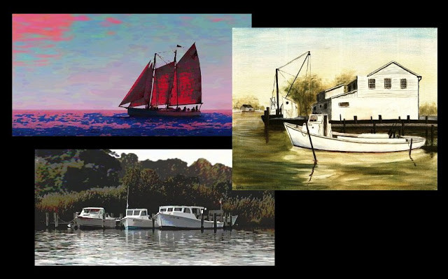 Original Multimedia Art Paintings, Digital Fine Art Seascape. Chesapeake Bay - 3 Fine Art Paintings Paintings and prints, scenes, seascapes, boats, sea and shore, abstracts, nudes, female nudes; ... Original fine art work by G. Linsenmayer.