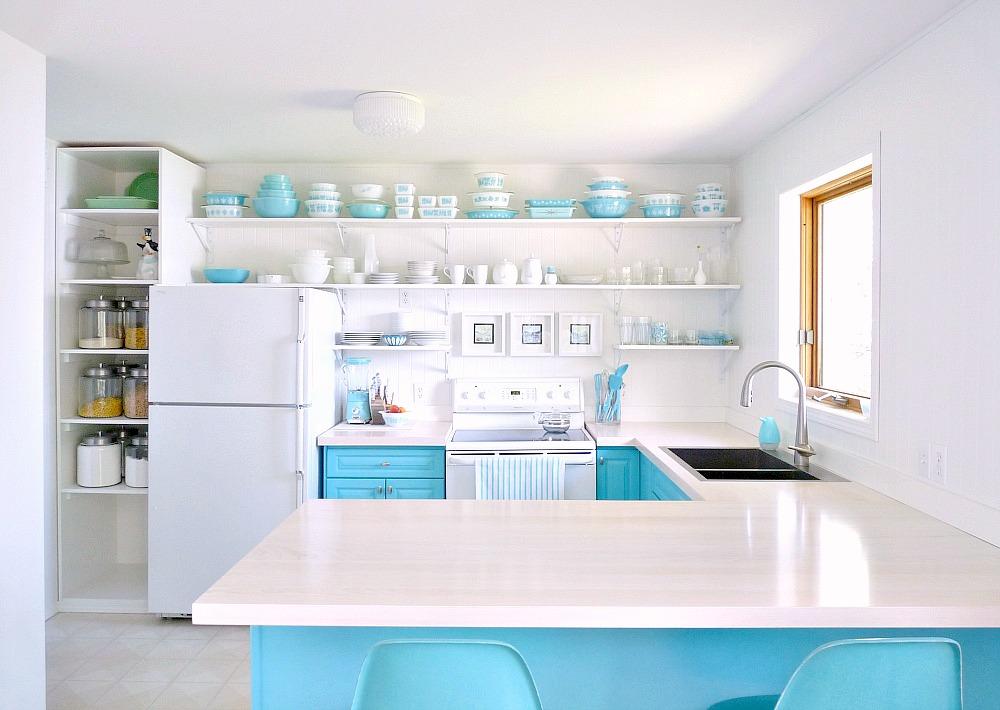 Aqua and White Kitchen Makeover