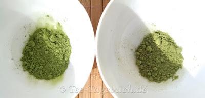 Matcha von BioNutra: links Usucha-Qualität, rechts Kochmatcha