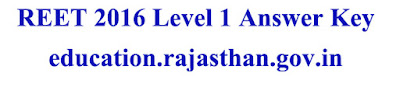REET 2016 Level 1 Answer Key Download education.rajasthan.gov.in