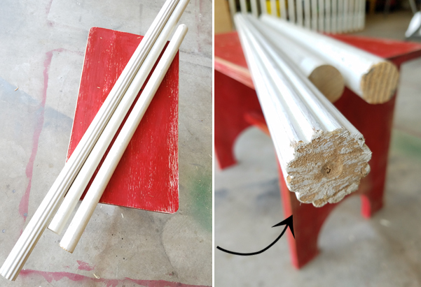red bench, white wooden poles, fluted wooden pole, curtain poles, garage floor