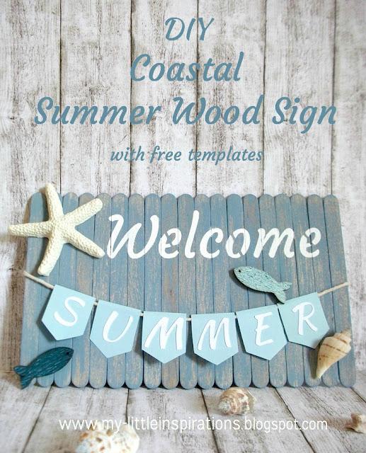 Insegna Coastal con stecchi del gelato, conchiglie e bandierine Welcome Summer - titolo - MLI