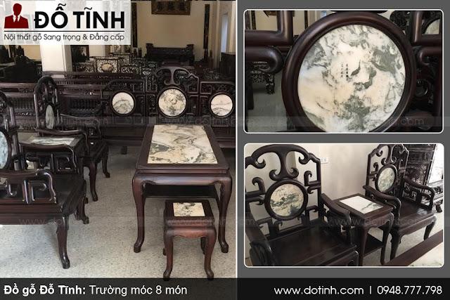 Bộ bàn ghế móc gỗ gụ 8 món cho phòng khách sang trọng