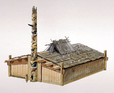 haidahouseartwork+by+Gordon+J.+Miller Pacific Northwest Indian Plank Houses on cedar plank house, northwest coast plank house, tlingit plank house, pacific northwest coast tlingit,