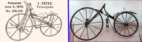 Bicycle Patent and picture of Original Biycle by John Shire