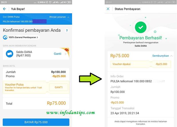 Pengalaman Beli Pulsa Pakai Dompet Digital Dana Dapat Potongan 25 Ribu