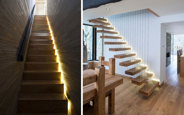 Marzua ideas para decorar escaleras con luz for Luces de pared interior