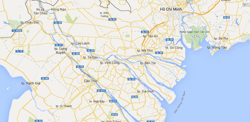 Mapa del Mekong- guía para viajar a Vietnam