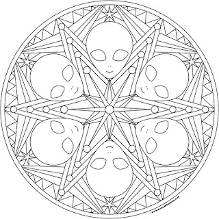 Alien mandala to print and color available in jpg and transparent png formats