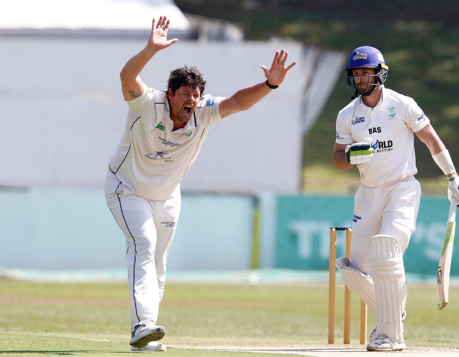 Rob Frylinck appeals successfully for the wicket of World Sports Betting Cape Cobras captain Pieter Malan on day three of their CSA 4-Day Domestic Series match at the Pietermaritzburg Oval on Wednesday.