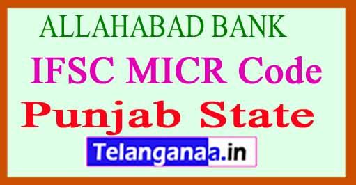 ALLAHABAD BANK IFSC MICR Code Punjab State