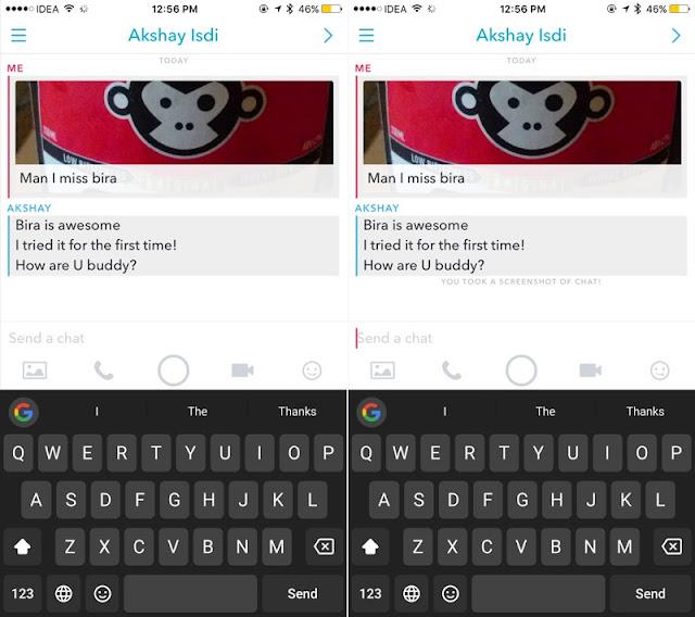 Snapchat Sohbet sistemi