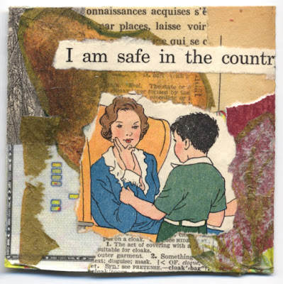 Collage hidden in secret compartment book