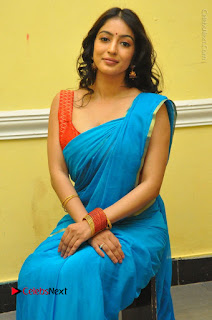 Telugu Actress Vaibhavi Stills in Blue Saree at Www.Meena Bazaar Movie Opening  0075.JPG