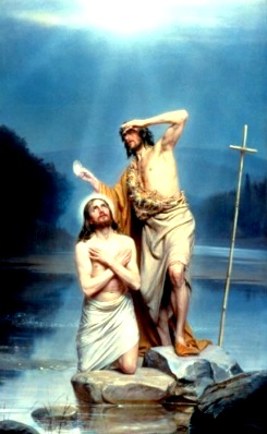 Ilustración del Bautismo de Jesús a colores