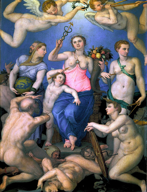 Agnolo Bronzino - Allegoria della Fortuna - arte - dipinti - nudo femminile e maschile