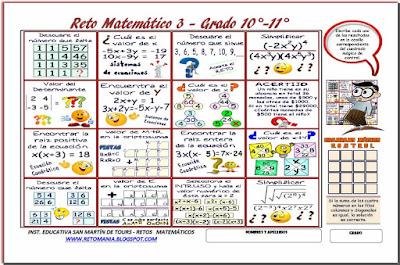 Retos matemáticos, Desafíos matemáticos, Problemas matemáticos, Criptoaritmética, Retos para pensar