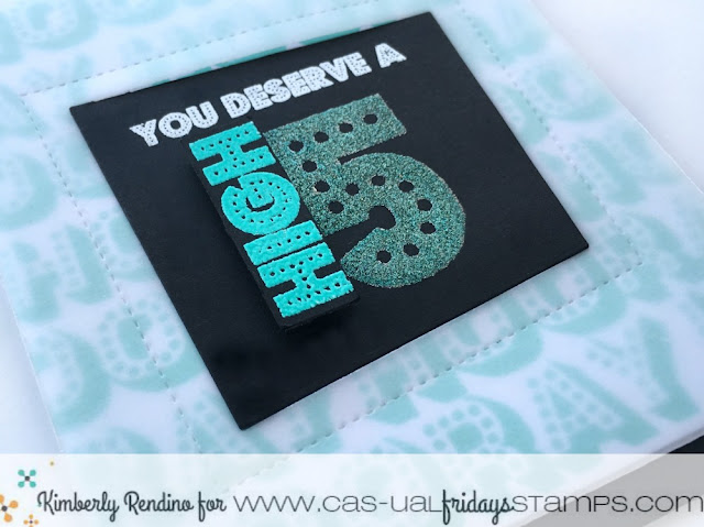 high five | glitter embossing | celebrate | handmade card | cas-ual fridays stamps | kimpletekreativity.blogspot.com