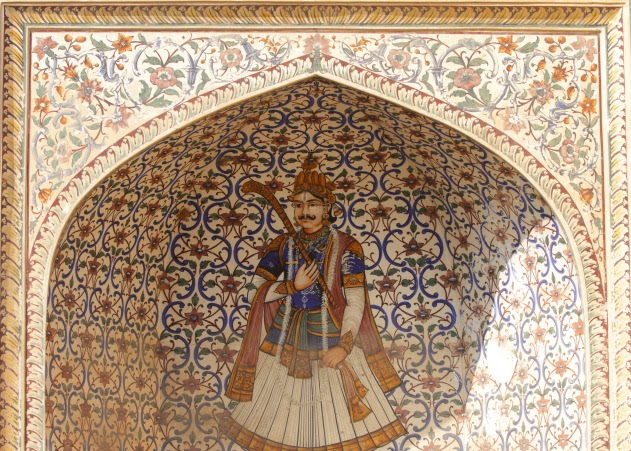 Beautiful portrait of the king on one of the walls of the city palace, Jaipur
