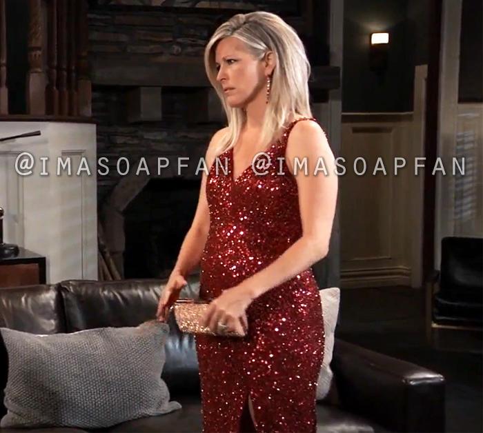 Carly Corinthos, Laura Wright, Red Sequined Gown, Nurses Ball, General Hospital, GH