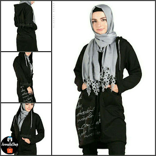 Jaket Hijaber Hijacket Urbanashion RAVEN BLACK Hijacket Casual