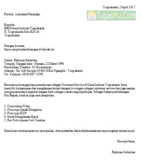 Download Contoh Surat Lamaran Kerja Sebagai Customer Service Di Operator Seluler Provider Telkomsel XL Indosat dan Smartfren