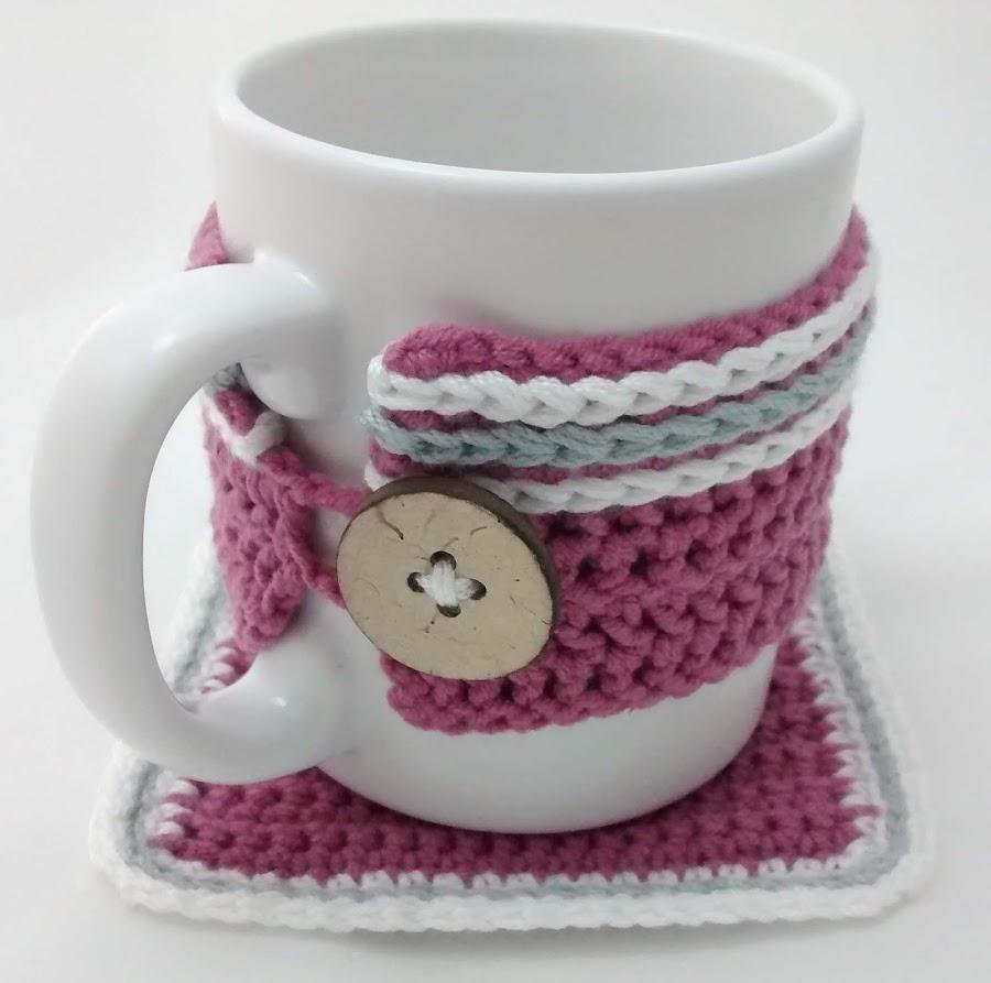 taza con funda de crochet gloriarte