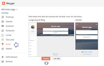 menu Desainer Tema Blogger