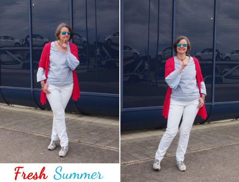 Frisches Sommeroutfit im Marinestil aus Basics kombiniert