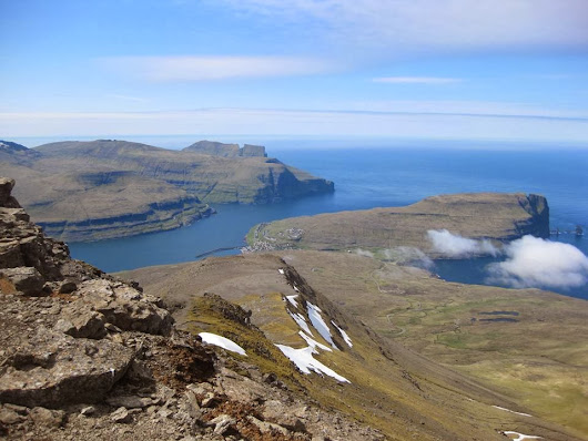 "The view from the highest mountain in the Faroe Islands ""Slættaratindur"" 880 meters"