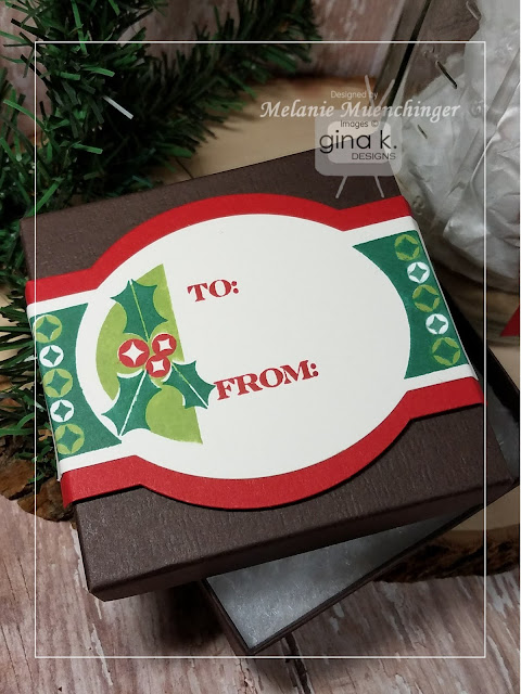 For This Box I Used The Fabulous Labels Die Set To Stamp My Tag On GKD Pure Luxury Ivory Cut In Christmas Pine Cherry Red And Grass Green